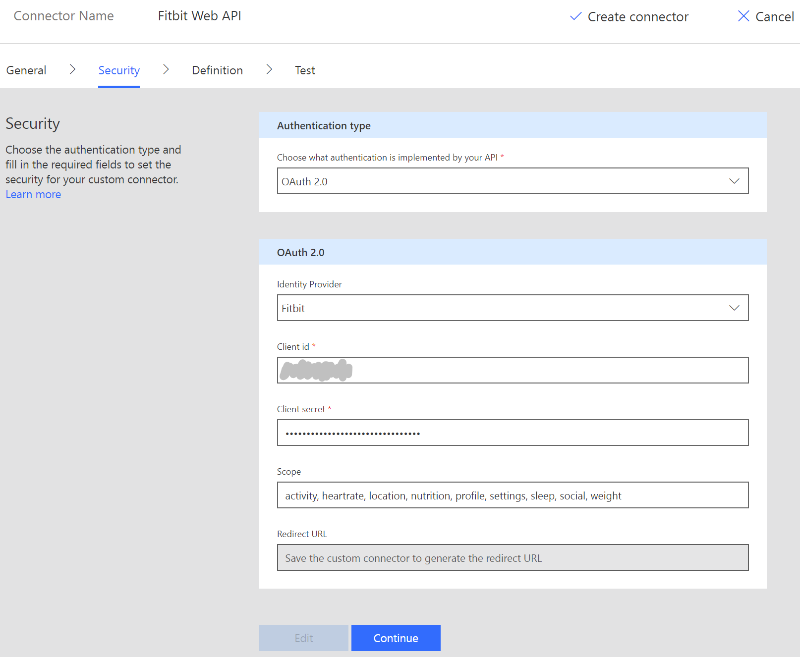 Security settings form page